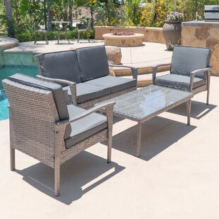 Bay Isle Home Stockwood 4 Piece Rattan Conversation Set with Sunbrella Cushions