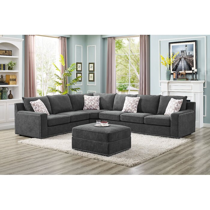 Amazing Makah 5 Seater Right Hand Facing Sectional Sofa With Ottoman Ibusinesslaw Wood Chair Design Ideas Ibusinesslaworg