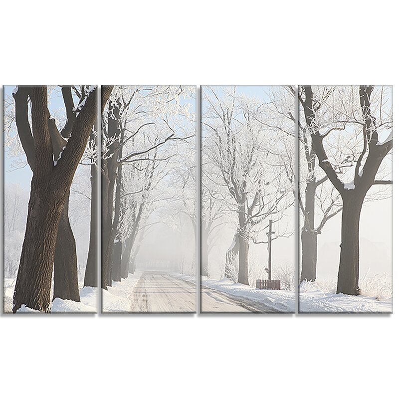 Road in the Snow Forest Giclee Canvas Print