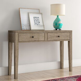 Amina Distressed Wood Two Drawer Accent Storage Console Table by Mistana