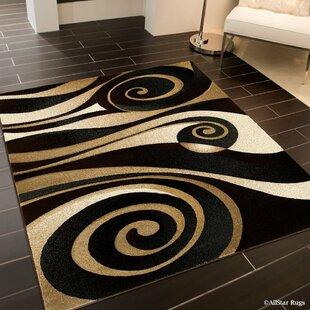 Reviews Spiral Black/Brown Area Rug ByAllStar Rugs