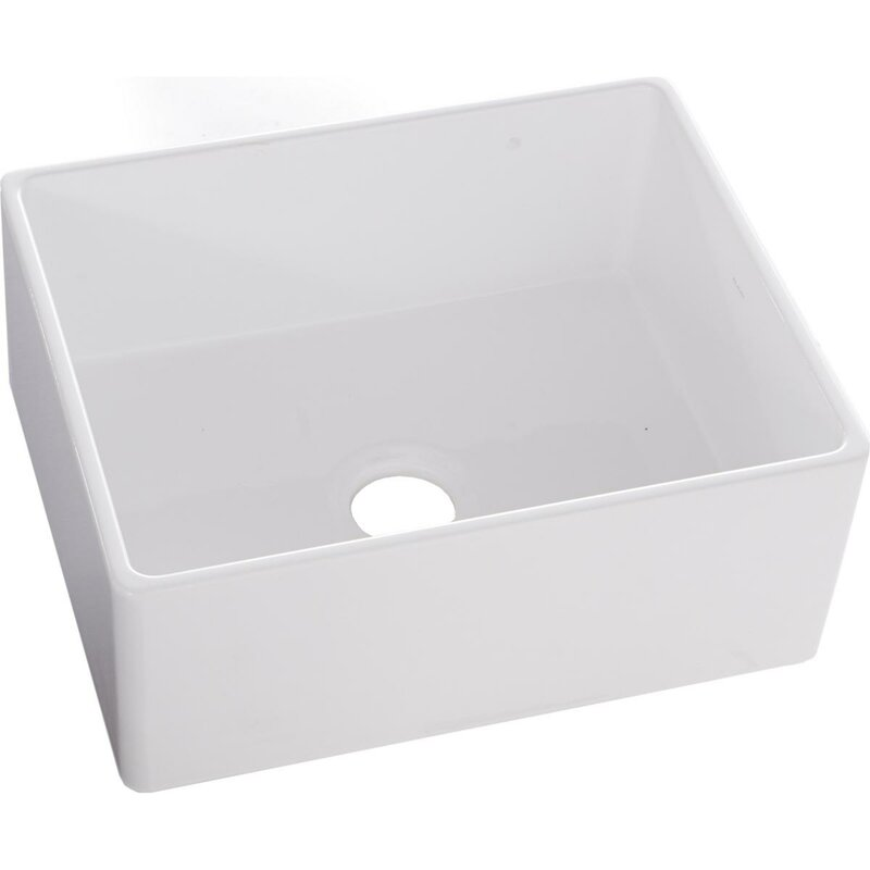 "Fireclay 24"" L x 20"" W Farmhouse Kitchen Sink"
