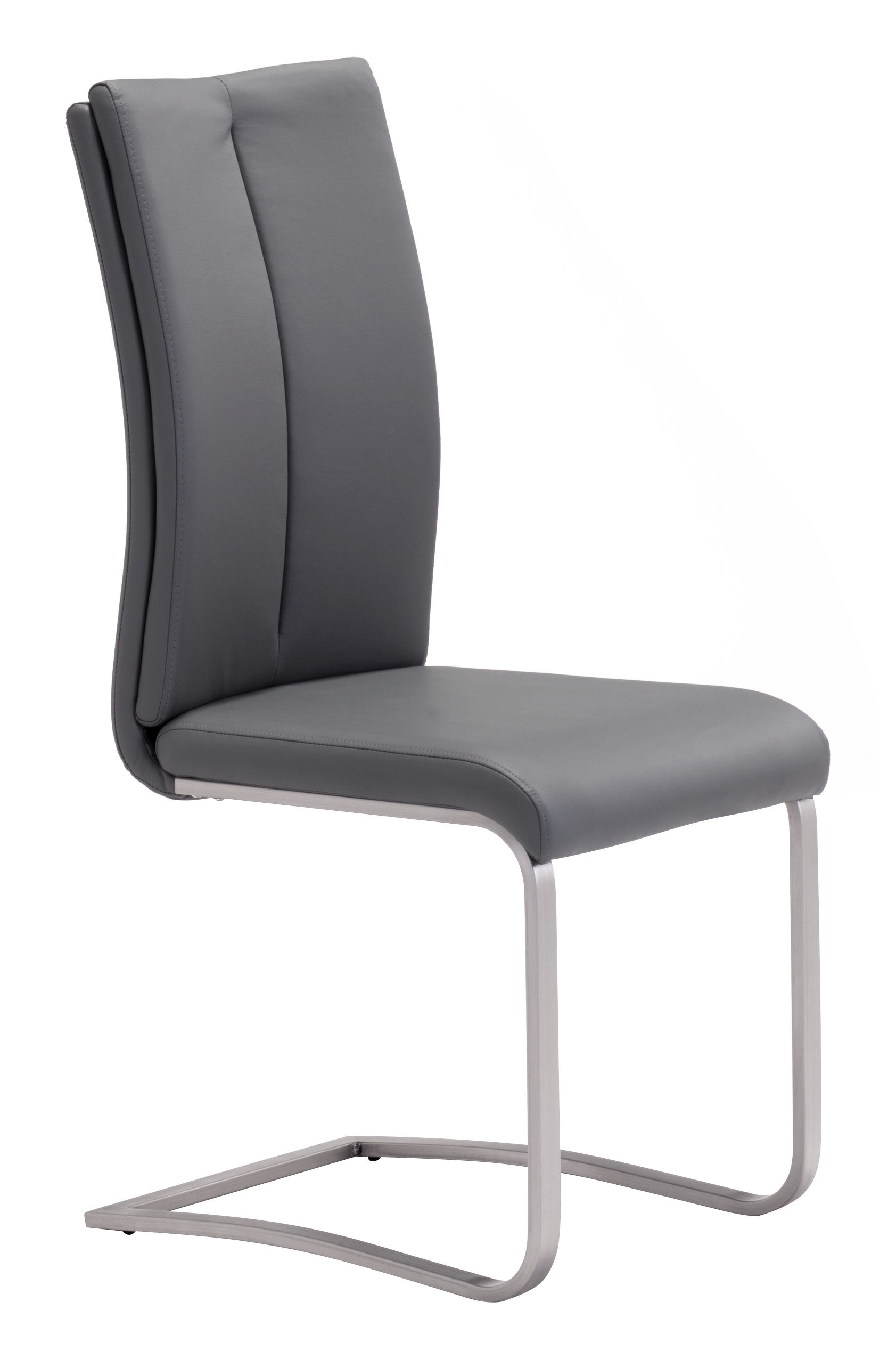 Brayden Studio Braatz Leather Upholstered Side Dining Chair In Brushed Chrome Wayfair