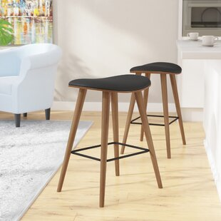 Kylie Saddle Fixed Base Counter 26 Bar Stool (Set of 2)