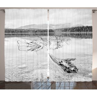 Deandrea Driftwood Graphic Print and Text Semi-Sheer Rod Pocket Curtain Panels (Set of 2) by Latitude Run