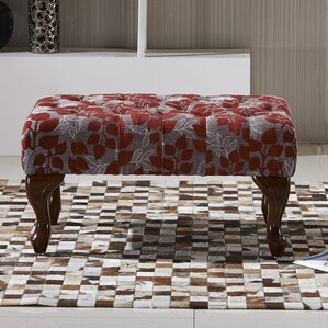 Elegant Floral Button Tufted Ottoman by Bellasario Collection