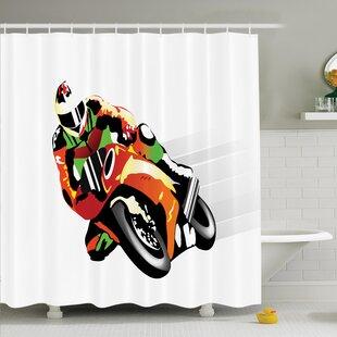 Myaa Motorcycle Racer Sport Shower Curtain Set ByLatitude Run