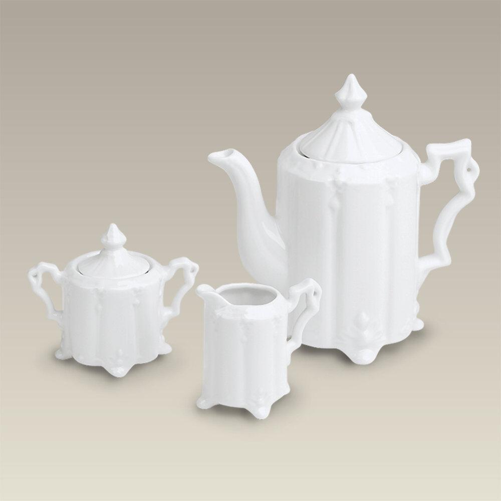 Canora Grey Sudduth Footed 3 Piece 34 Oz Porcelain Teapot Set Wayfair