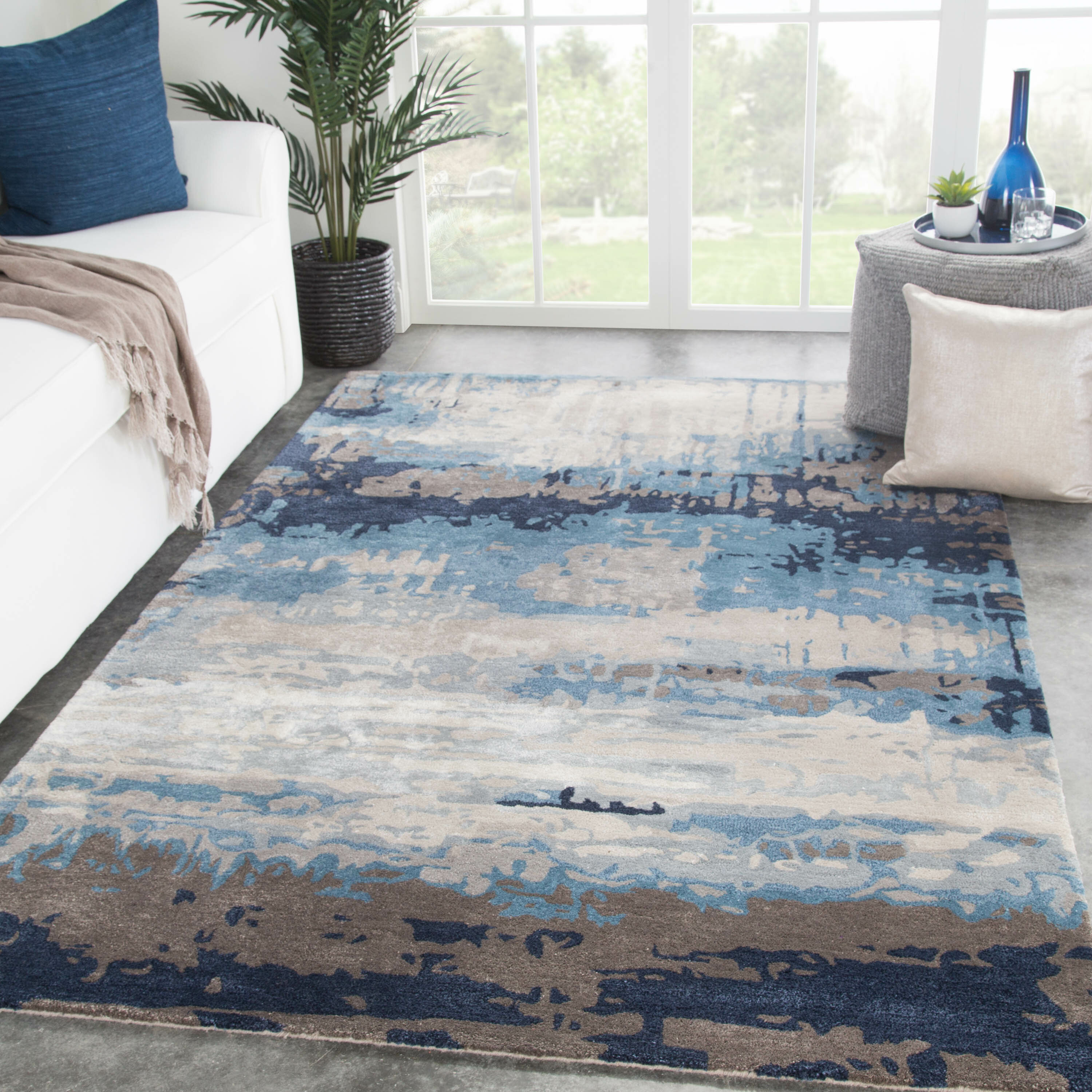 Picture of: Fairmount Abstract Handmade Tufted Wool Blue Gray Beige Area Rug Reviews Joss Main