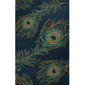 National Geographic Home Wool and Viscose Hand Tufted Blue Area Rug