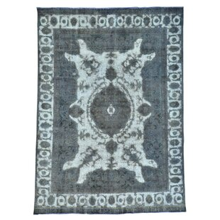 Deals One-of-a-Kind Overdyed Pure Vintage Hand-Knotted 8' x 11'3 Wool Gray/White Area Rug By 1800GETARUG