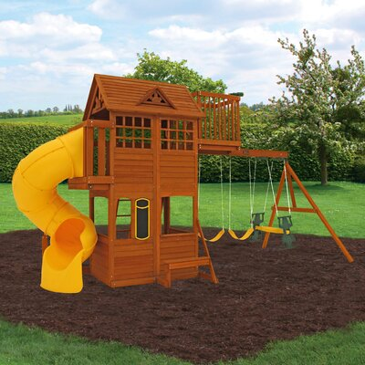 Abbeydale Clubhouse Wooden Swing Set KidKraft