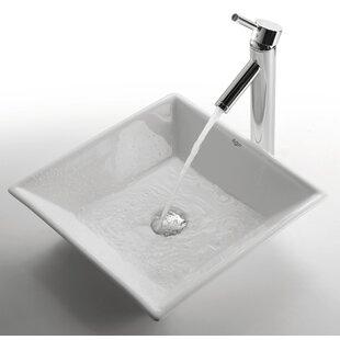 Kraus Ceramic Ceramic Square Vessel Bathroom Sink with Faucet