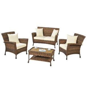 Oph?lie 4 Piece Rattan Sofa Set with Cushions by One Allium Way