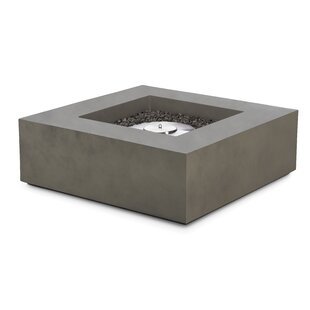 Shelbie Low Square Concrete Bio-Ethanol Fire Pit Table