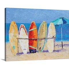 Beach Huts Laminated Cotton Trash Bag Bikes and Surfboards
