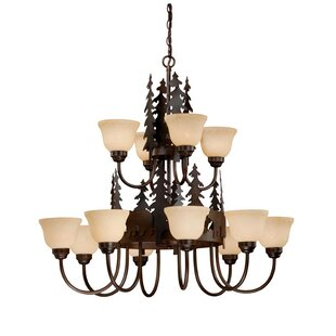 Loon Peak Jensen 12-Light Shaded Chandelier