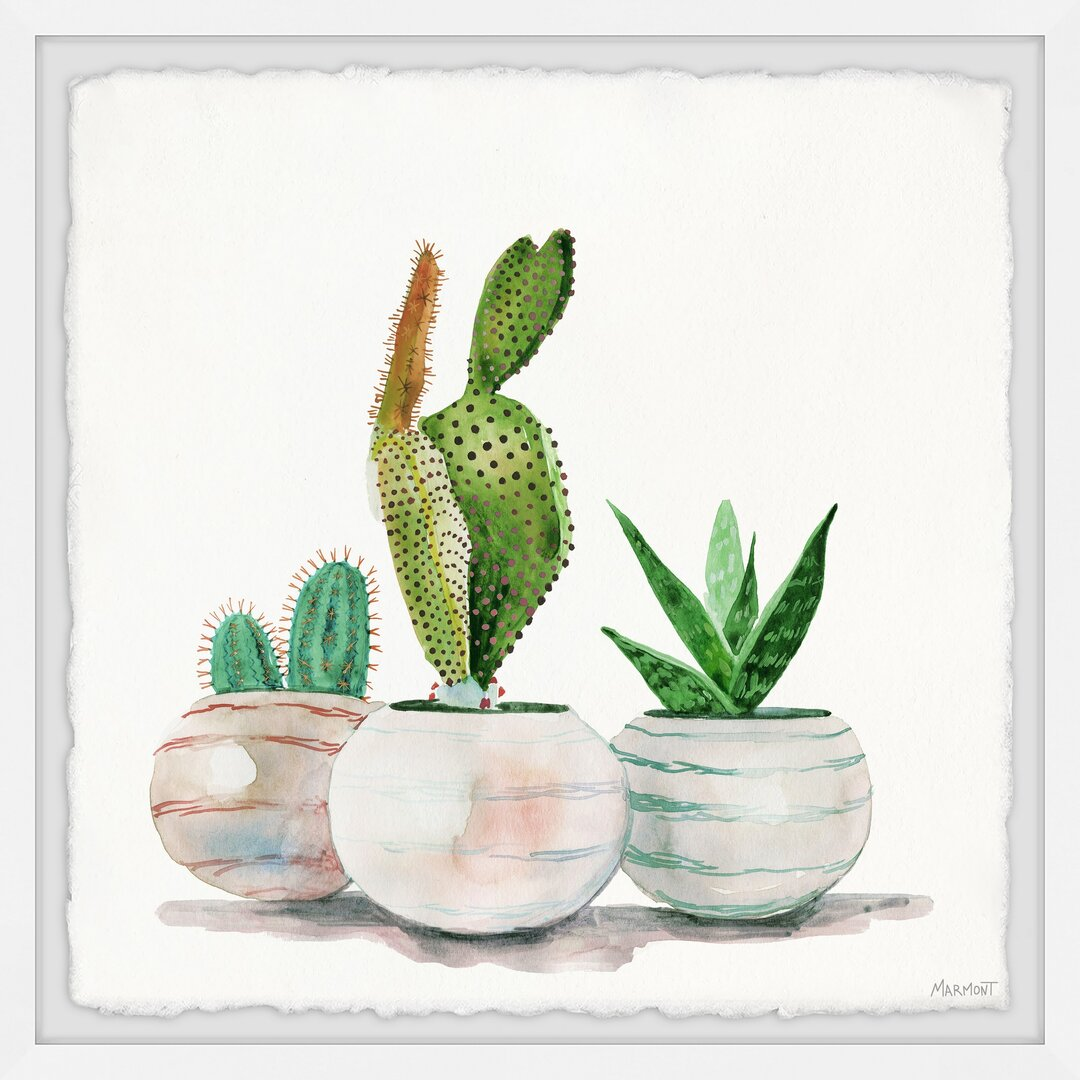 Cactus Planters Framed Painting Print