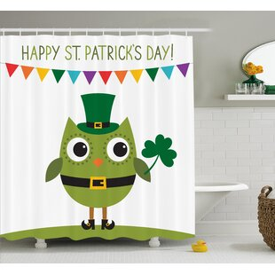 St. Patrick'S Day Owl With Leprechaun Costume Greeting Design For Party Shamrock Single Shower Curtain