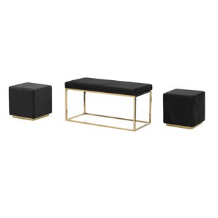 Everly Quinn Tinley Solid Velveteen Metal Bench & Stools
