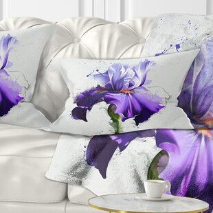 Floral Beautiful Iris Watercolor Sketch Lumbar Pillow