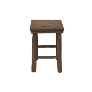 Yellow Pine Pank Teak Decorative Stool By Union Rustic