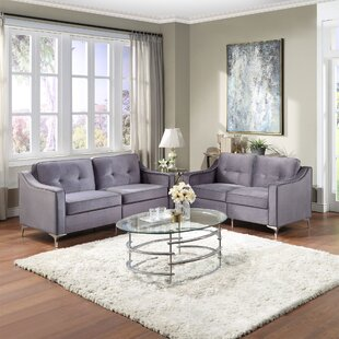 2 Pieces Tufted Velvet Upholstered Loveseat & Couch Sofa Track Arm Classic Mid-Century Modern Sofa Set With Chromed Metal Legs by Mercer41