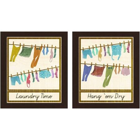 'Laundry Time' 2 Piece Framed Graphic Art Set