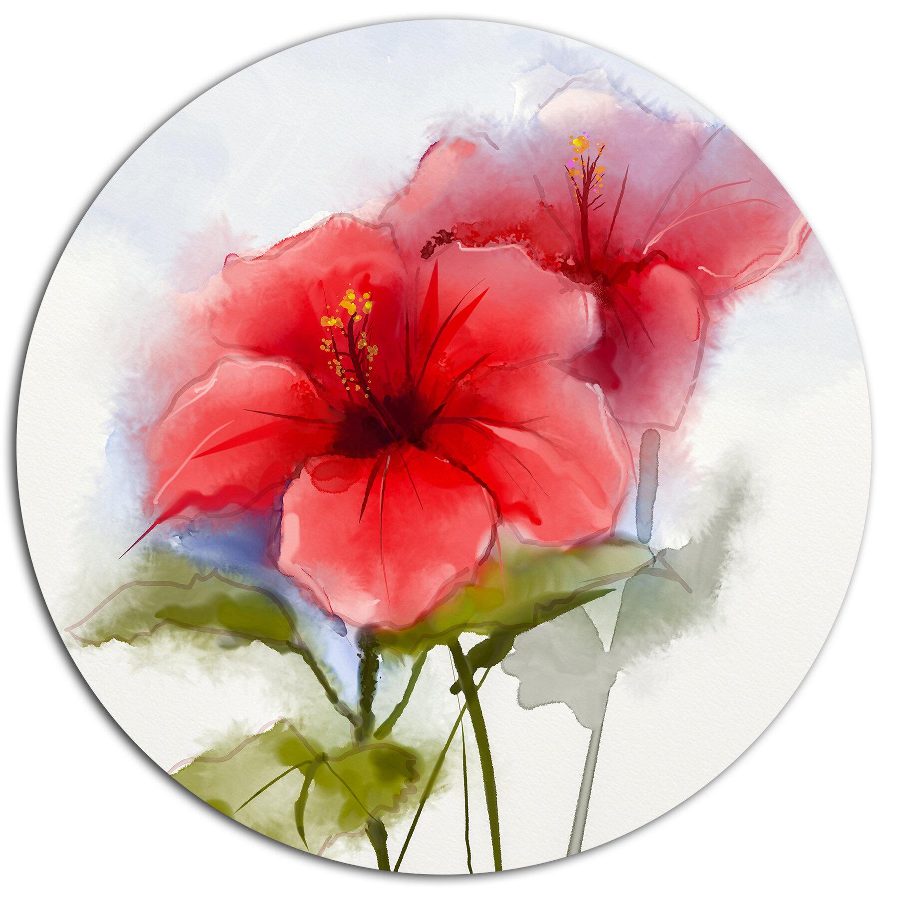 Designart watercolor painting red hibiscus flower oil painting designart watercolor painting red hibiscus flower oil painting print on metal wayfair izmirmasajfo