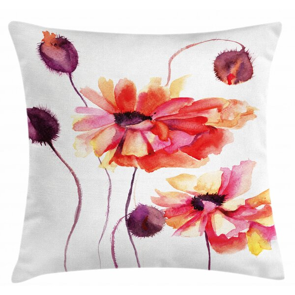 East Urban Home Watercolor Painting Poppy Indoor Outdoor Floral 28 Throw Pillow Cover Wayfair