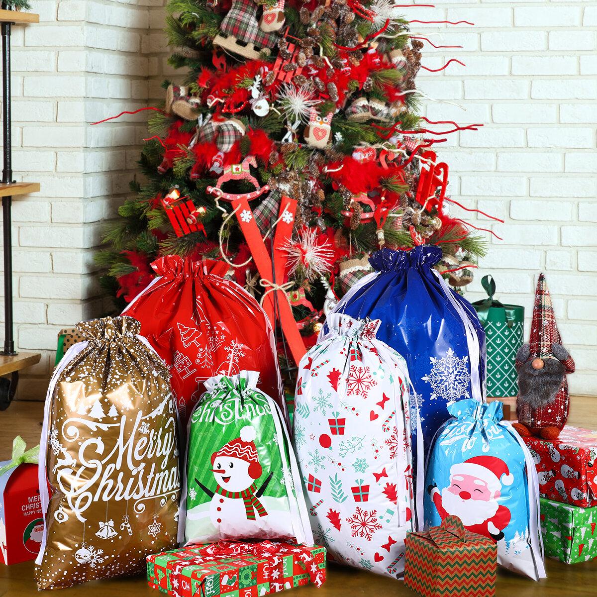 30pcs Treat Bags Gold Plastic Drawstring Candy Goodies Gift Bag Party Favor Xmas