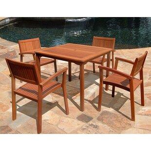 Vifah 5 Piece Outdoor Wood Dining Set