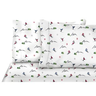Royal 3 Piece Nordic Adventure Skiers Floral Flannel Sheet Set