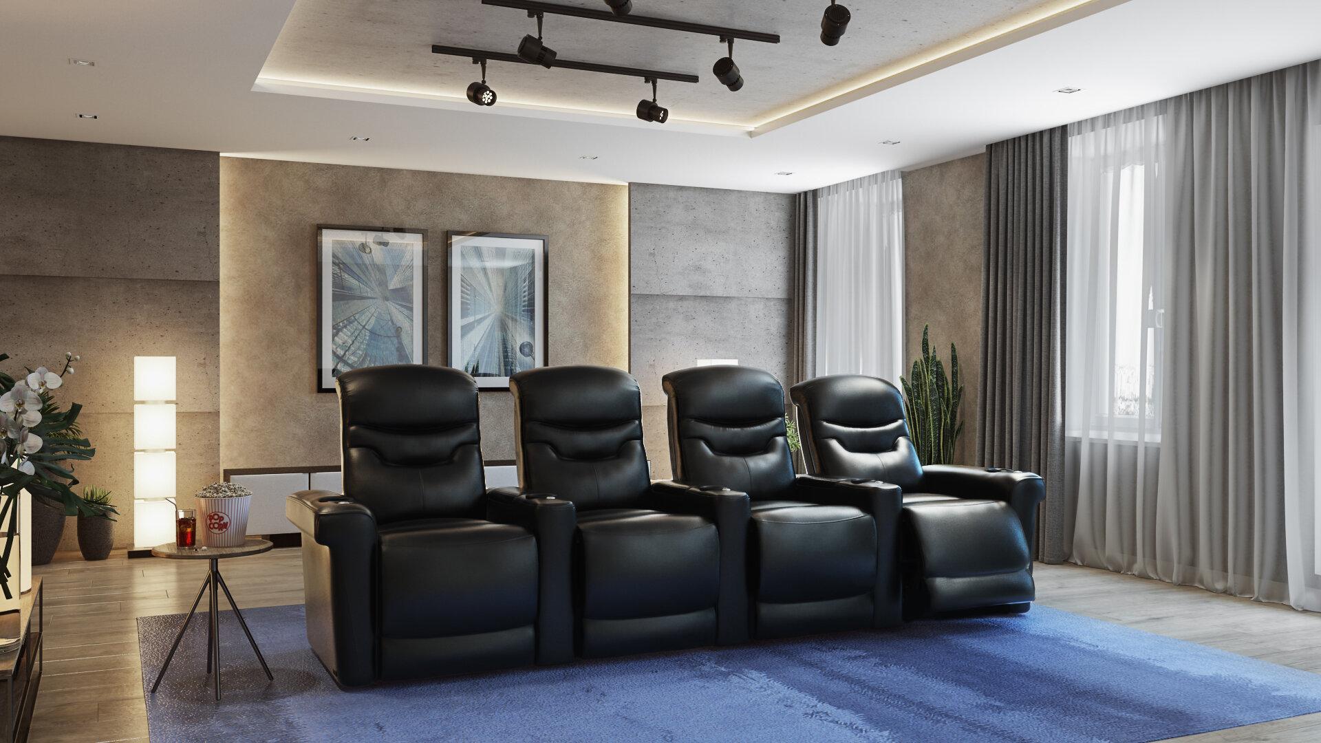 Orren Ellis Leather Home Theater Configurable Seating Reviews Wayfair