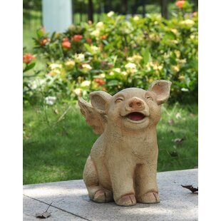 Sitting Pig with Wings Statue by Hi-Line Gift Ltd.