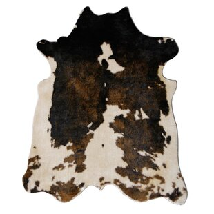 Binx Loomed Faux Cowhide Beige Brown Area Rug