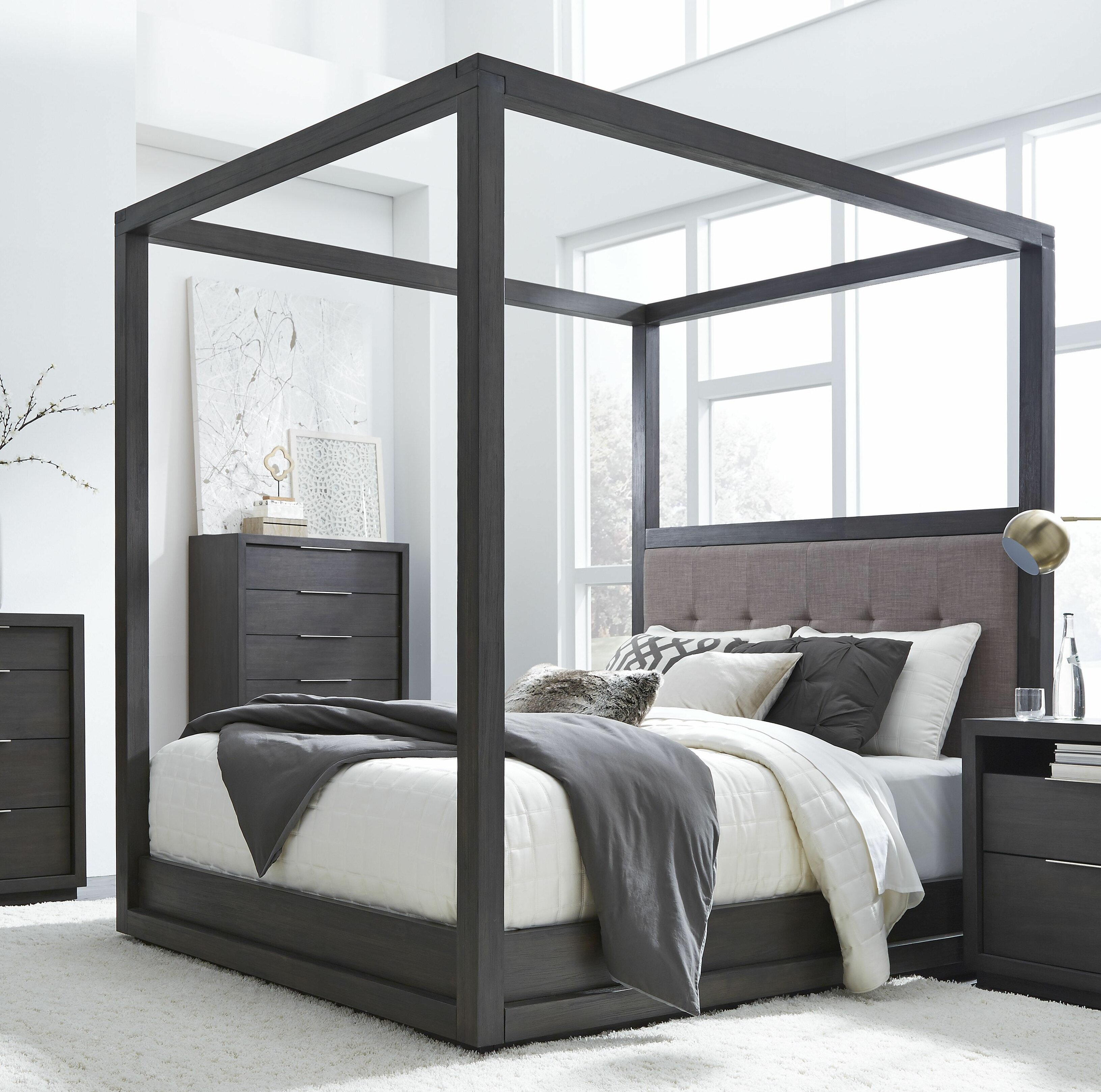 Picture of: Tufted Solid Wood And Upholstered Low Profile Canopy Bed Reviews