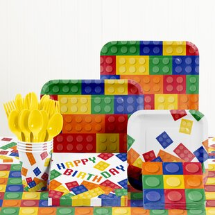 81 Piece Block Party Birthday Paper/Plastic Tableware Set