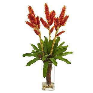 Artificial Tropical Bromeliad Floral Arrangement in Glass Vase