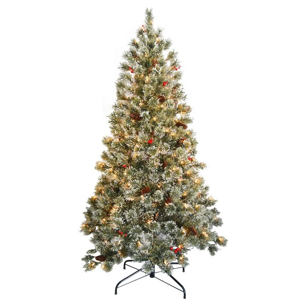 Crystal Cashmere 6.5' Green Pine Artificial Christmas Tree with ...