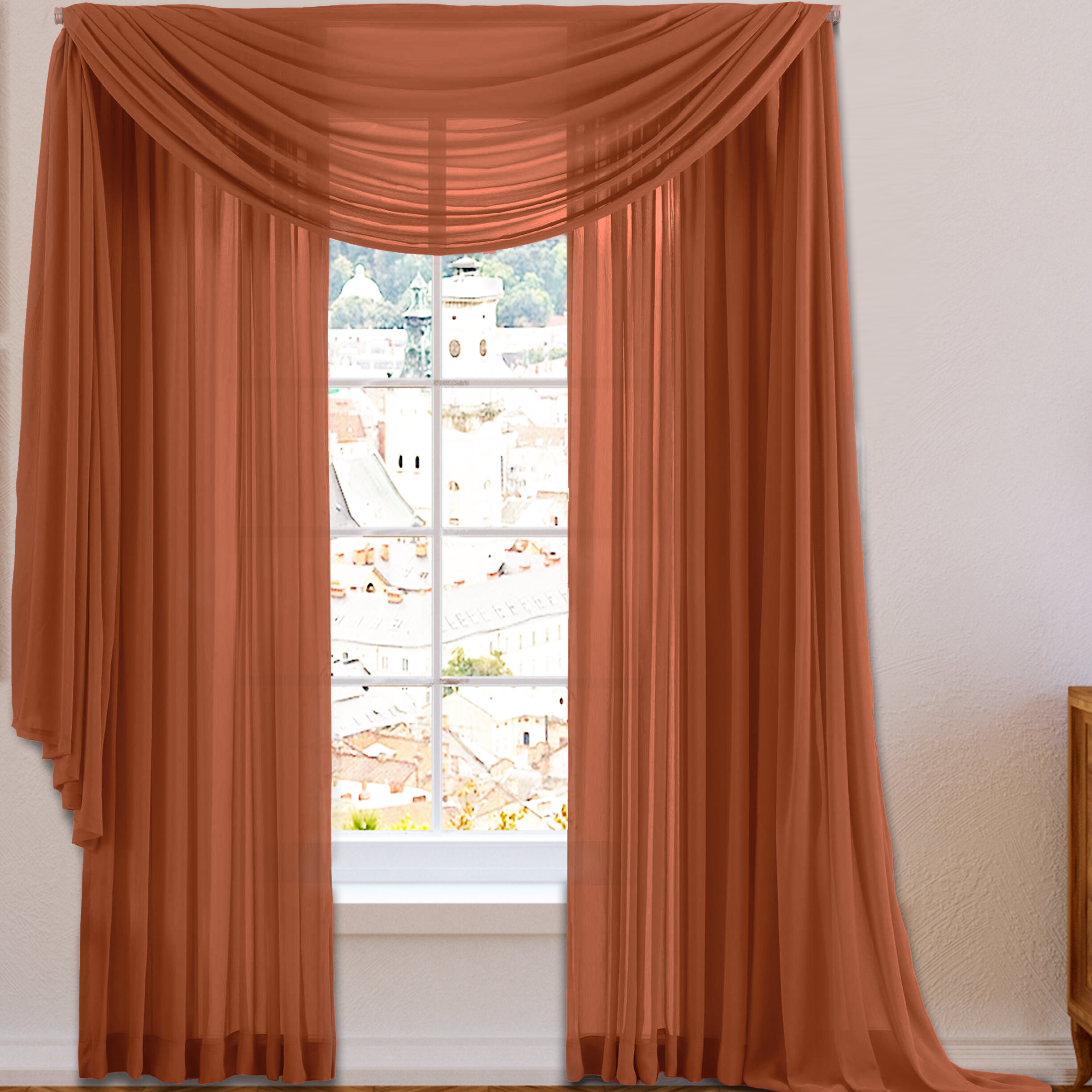 ideas taupe voile curtain image extra curtains of sheer valance elegant scarf window long