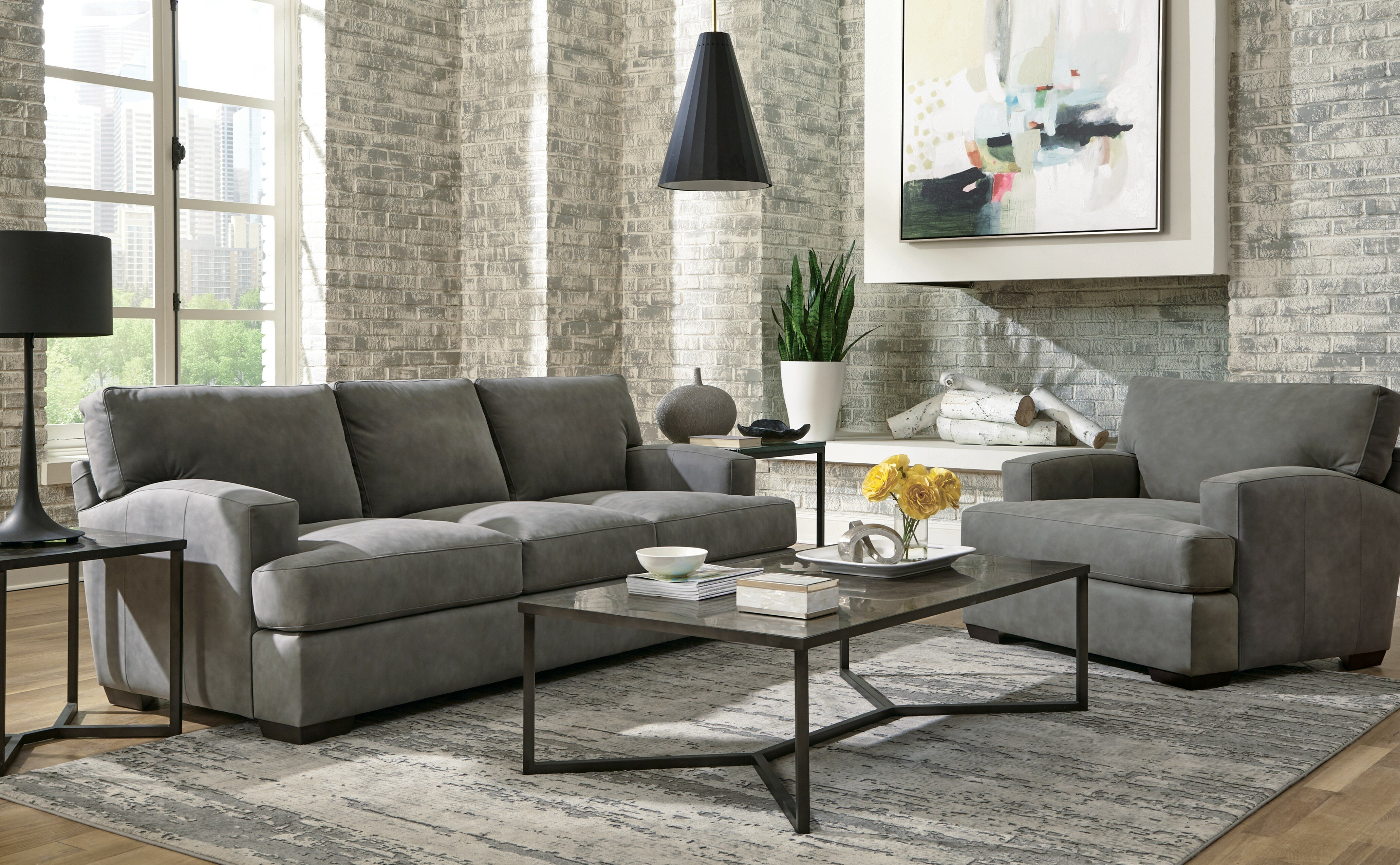 Ash 3 Piece Leather Living Room Set