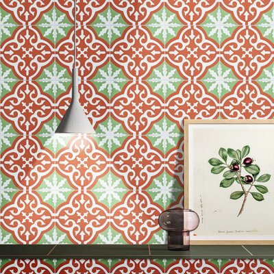 Argana 8 x 8 Cement Field Tile Color: Red Green