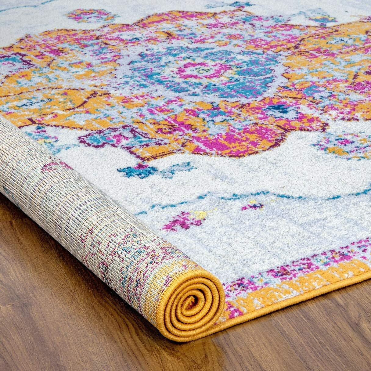 Bungalow Rose Lucee Power Loom Yellow Pink Rug Wayfair