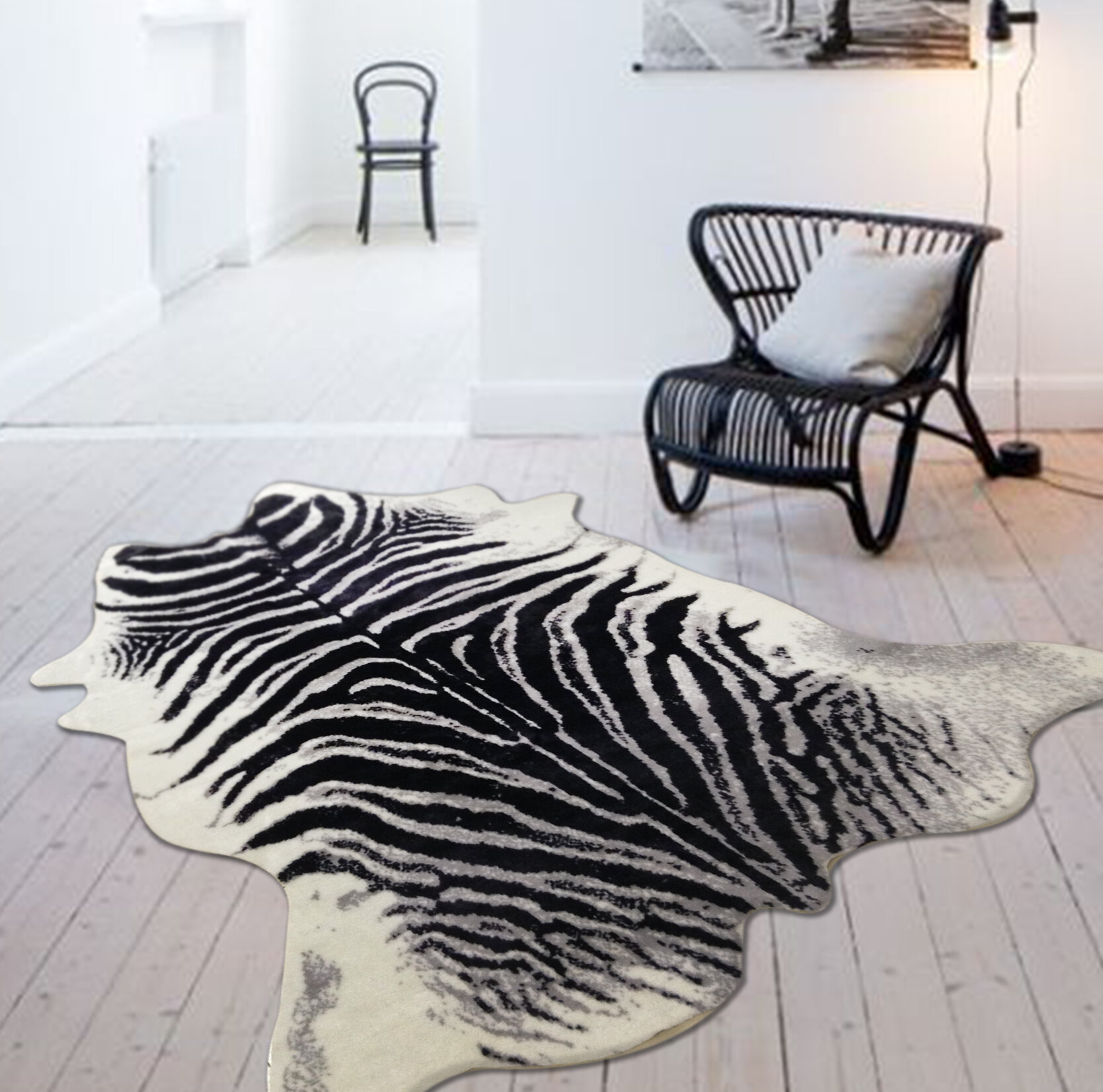 Alegre Faux Zebra Shape Black White Indoor Area Rug