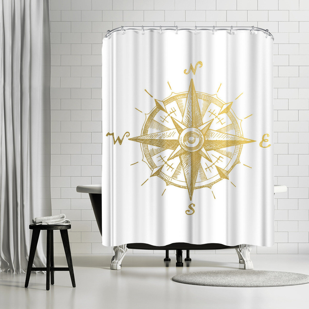 East Urban Home Adams Ale Gold Foil Compass Shower Curtain