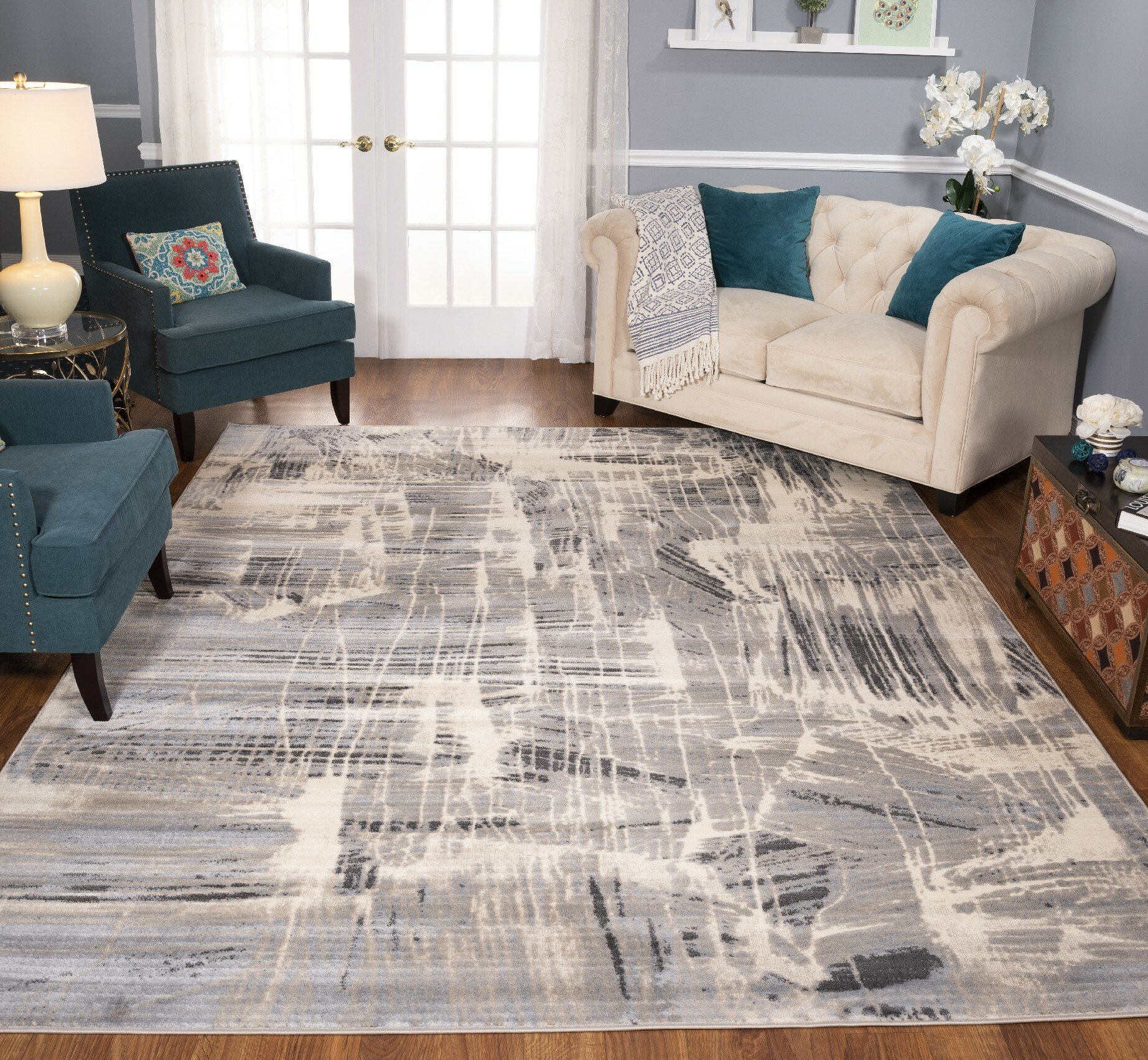 17 Stories Kelson Abstract Gray Area Rug Wayfair