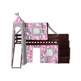 Johannes Castle Stairway Twin Low Loft Bed with Slide by Zoomie Kids