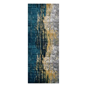 Costales Yellow/Silver/Blue Area Rug