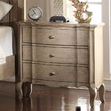 Aryana 3 - Drawer Solid Wood Nightstand in Antique Taupe by Canora Grey